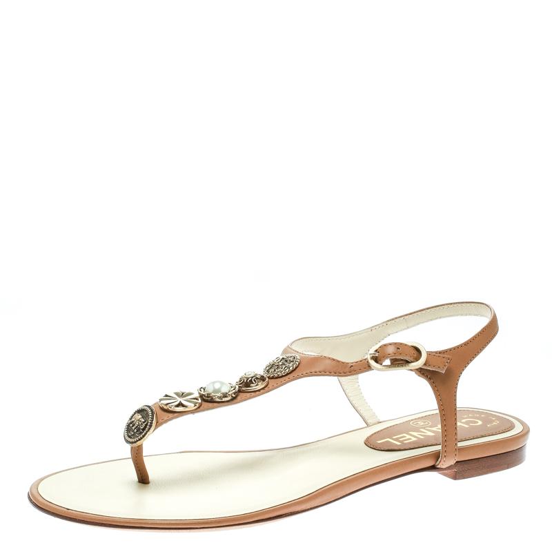 55bda078d74 ... Leather Studded T-Strap Thong Sandals Size 36. nextprev. prevnext