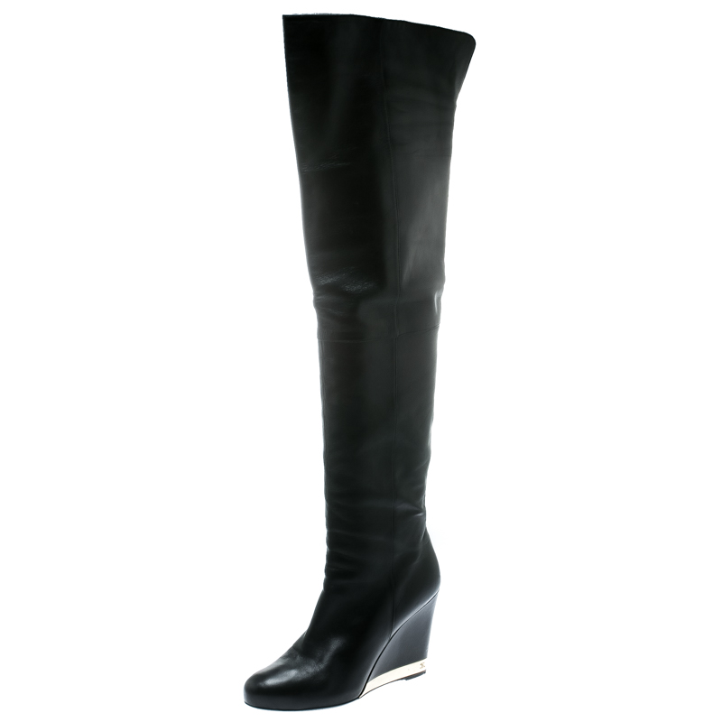 Chanel Black Leather Wedge Heel Over The Knee Boots Size 39.5