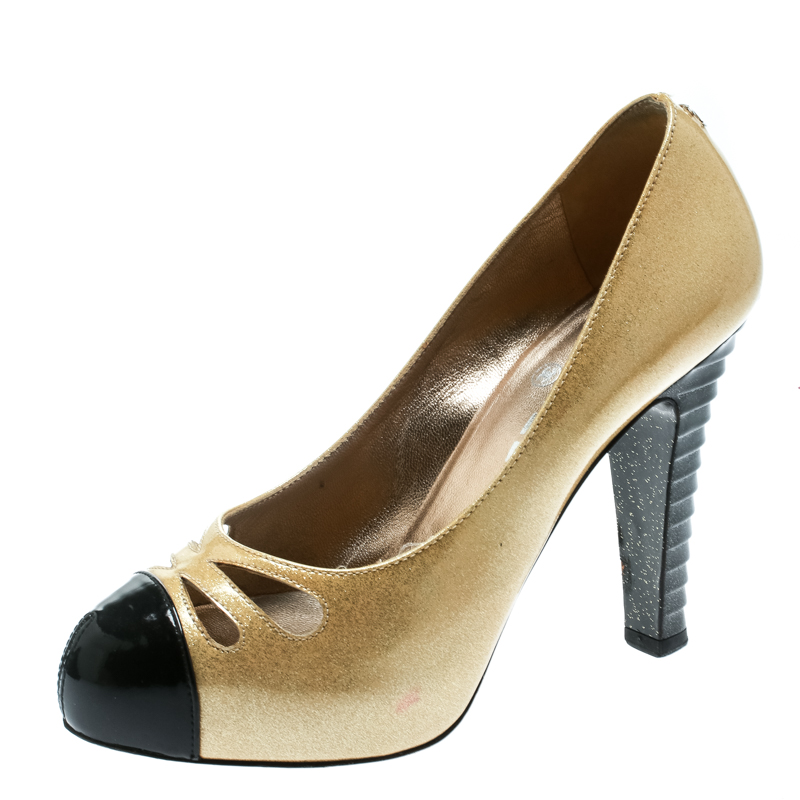 2e66898cbd326 ... Chanel Metallic Gold Patent Leather Iridescent Cap Toe Platform Pumps  Size 37. nextprev. prevnext