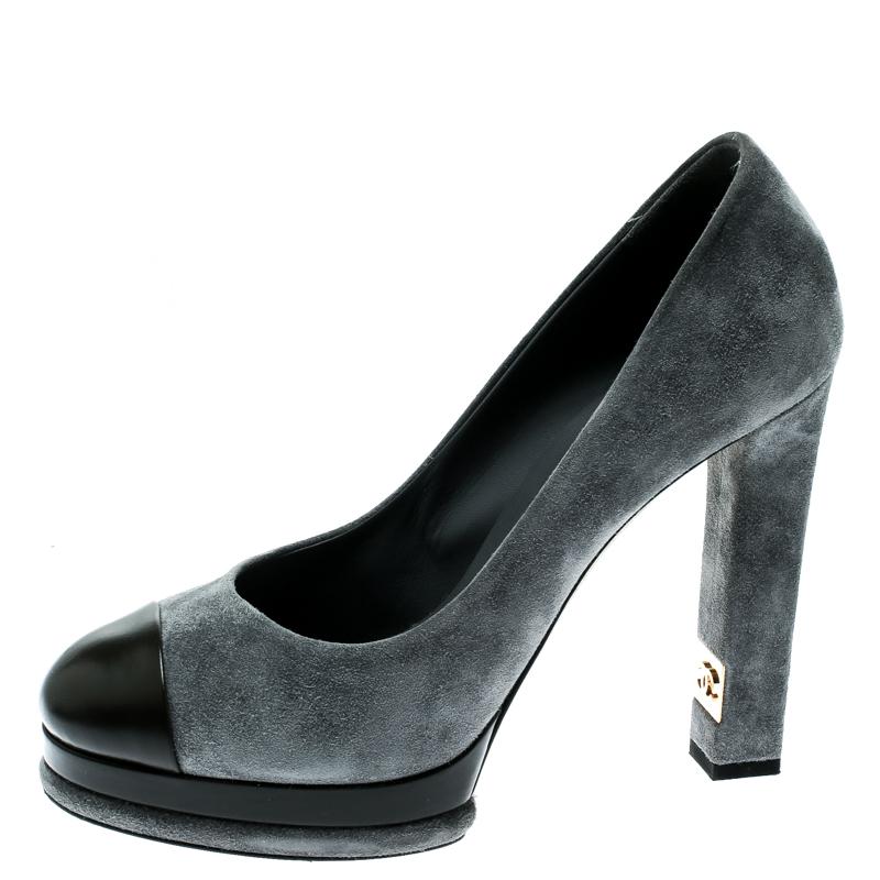 Chanel Grey/Black Suede and Leather Cap Toe Platform Pumps Size