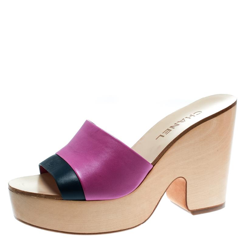 83102be13922 Buy Chanel Pink Blue Leather CC Platform Slides Size 39 182108 at ...