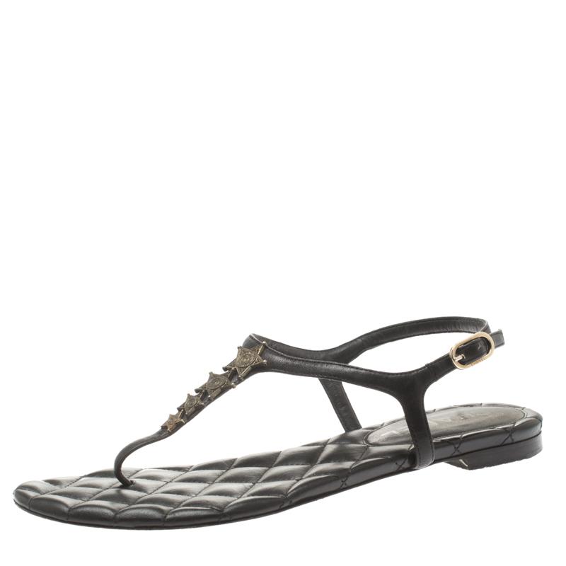 38bad7ad0 ... Chanel Black Leather Star Embellished Ankle Strap Flat Thong Sandals  Size 37.5. nextprev. prevnext