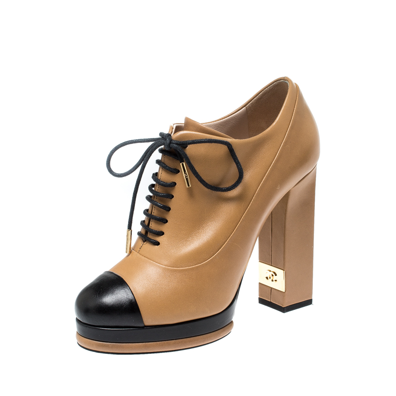 Chanel Brown/Black Leather CC Cap Toe