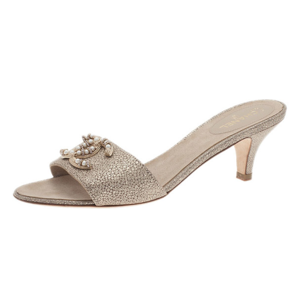 b1946f574ee Buy Chanel Gold Leather Pearl CC Slides Size 38.5 2305 at best price ...