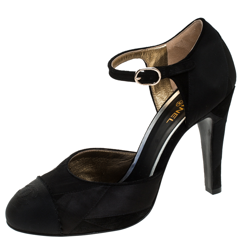 Chanel Black Satin And Suede Leather CC Cap Toe Ankle Strap Sandals Size 38.5