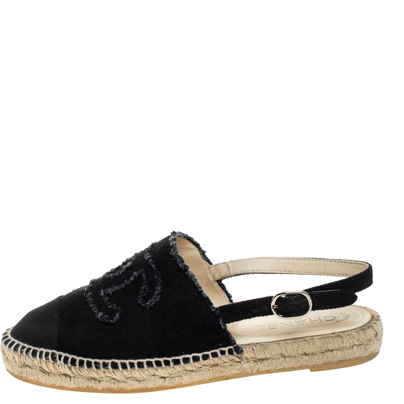 Chanel Back Canvas CC Espadrille Slingback Flat Sandals Size, Black