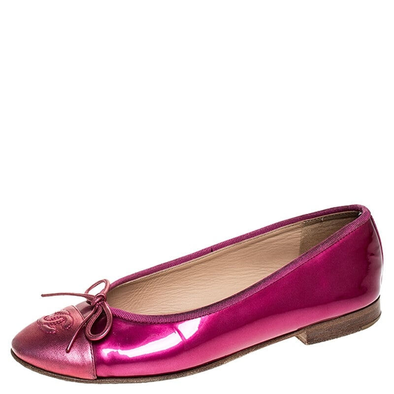 Chanel Pink Patent Leather And Leather CC Cap Toe Bow Ballet Flats Size 36