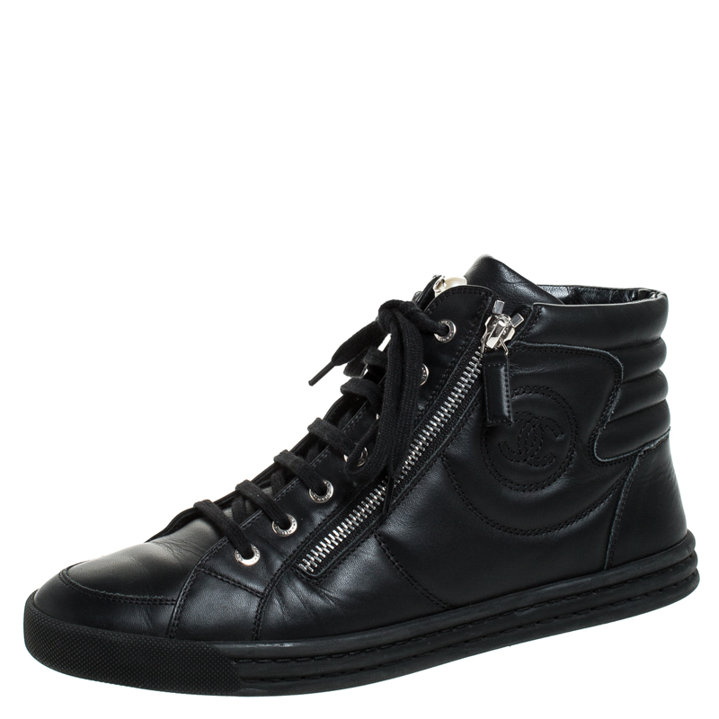 Chanel Black Leather CC Double Zip High Top Sneakers Size 40.5