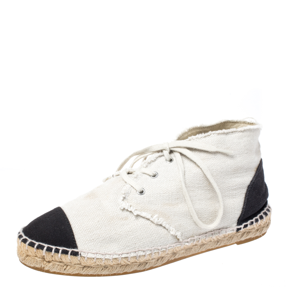 Chanel Two Tone Canvas Cap Toe CC Espadrille Sneakers Size 37