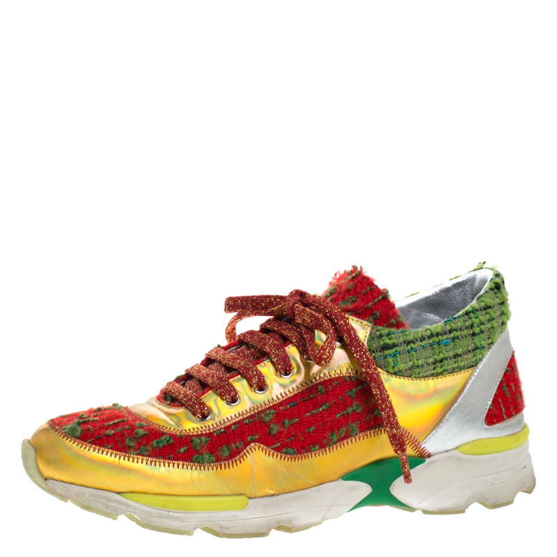 Chanel Multicolor Tweed Fabric And Leather CC Lace Up Sneakers Size 37.5