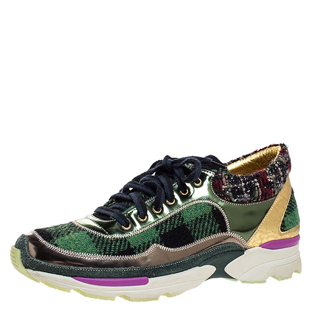 Chanel Multicolor Tweed Fabric And Leather CC Low Top Sneakers Size 39