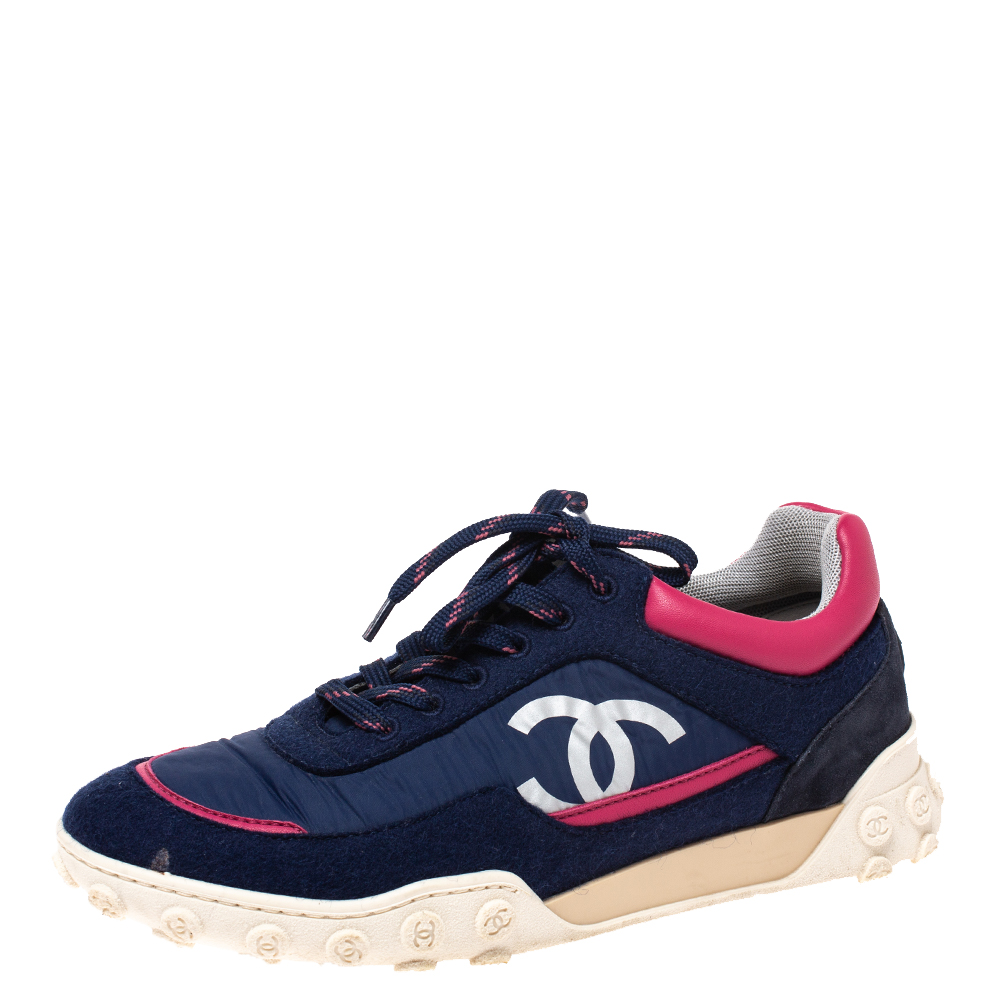 Chanel Blue/Pink Nylon and Wool Logo Letter Low Top Sneakers Size 37