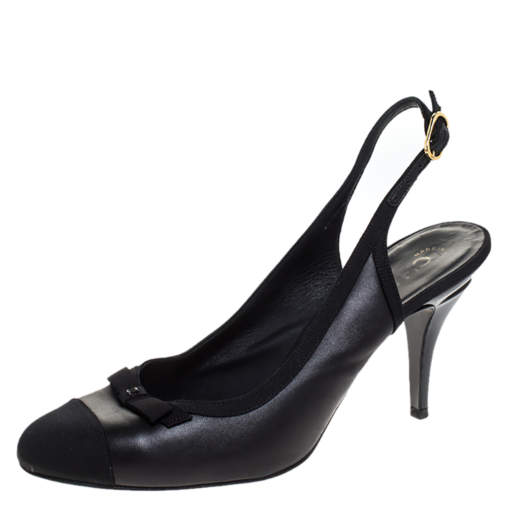 Chanel Black Leather And Fabric Cap Toe CC Bow Slingback Pumps Size 41