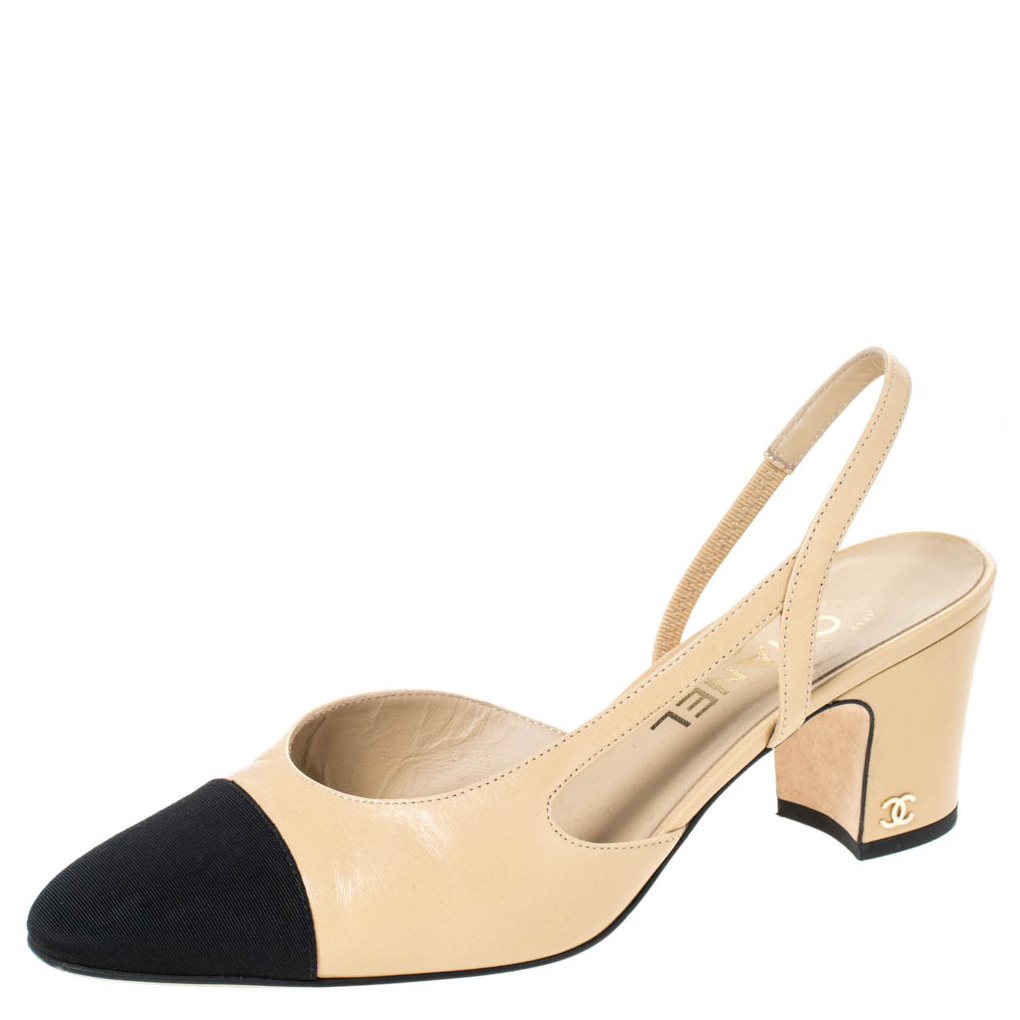 Chanel Beige/Black Leather and Fabric Cap Toe Slingback Sandals Size 38.5