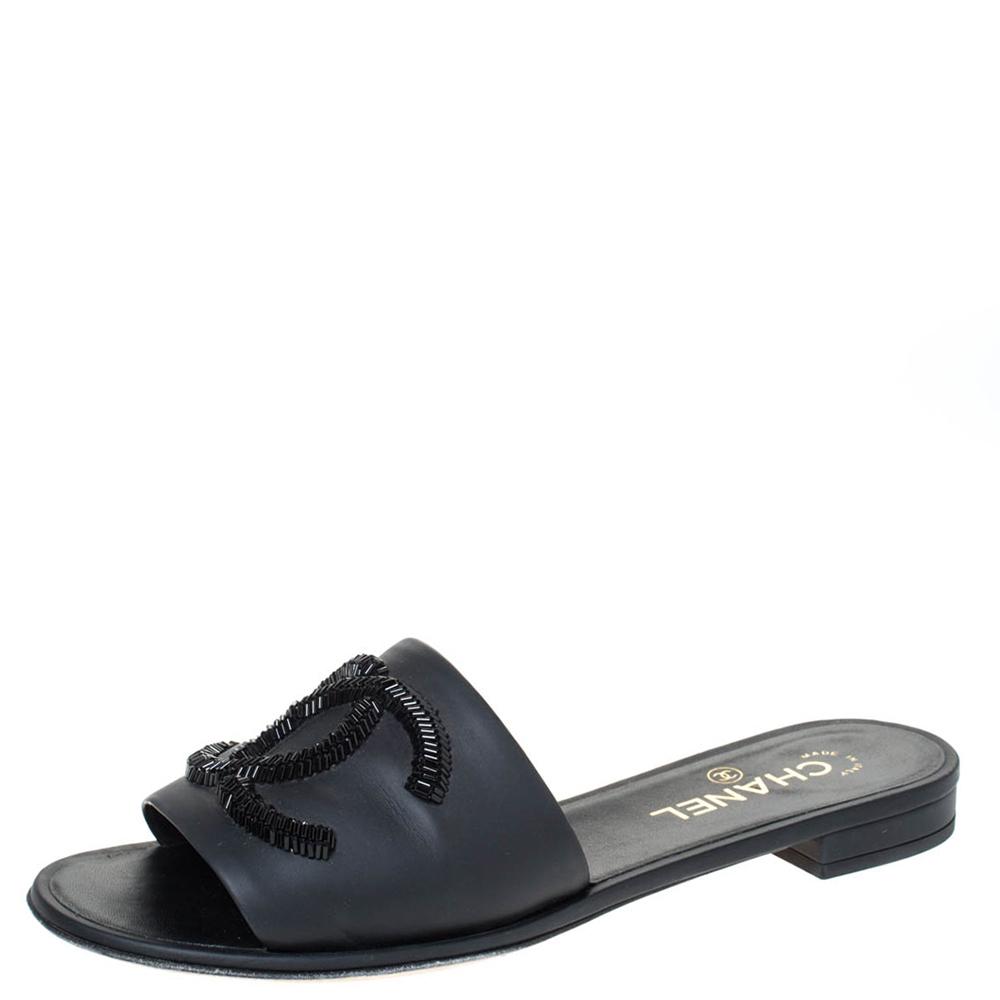 Chanel Black Leather CC Embellished Flats Size 39