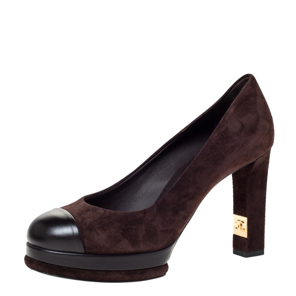Chanel Brown Suede And Black Leather Cap Toe Platform Block Heel Pumps Size 37