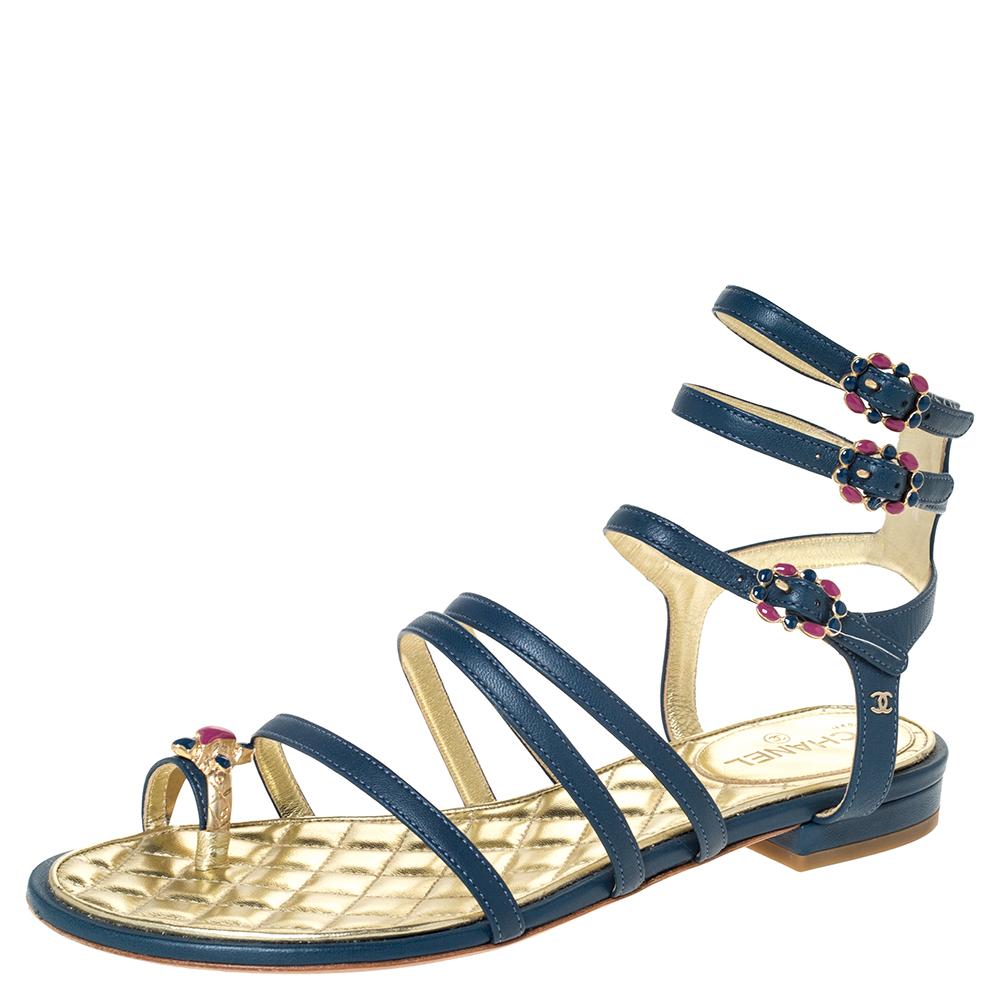 Chanel Blue Leather Embellished Toe Ring Gladiator Flat Sandals Size 36.5