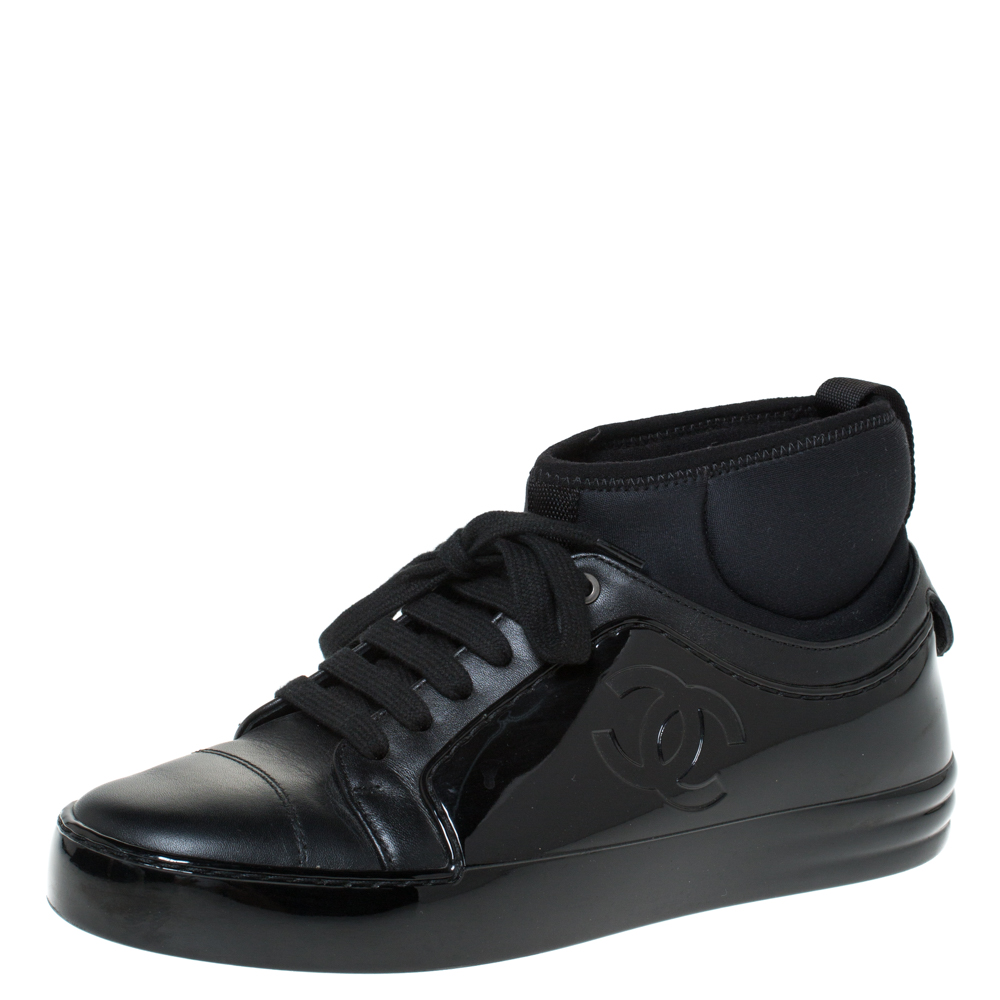 Chanel Black Leather And Rubber Mid Top Lace Up Sneakers Size 36