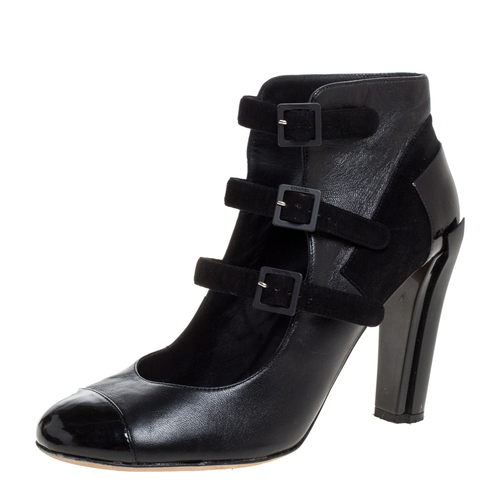Pre-owned Chanel Black Leather, Suede And Patent Cap Toe Triple Ankle Strap Booties Size 40
