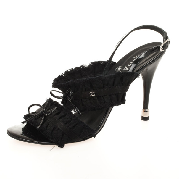 Chanel Black Grosgrain Canvas Bow Slingback Sandals Size 38.5