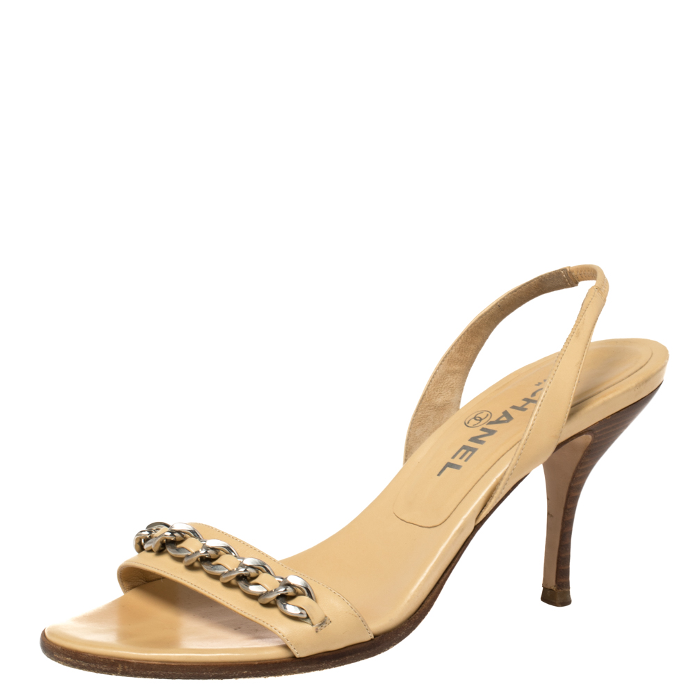 Pre-owned Chanel Beige Leather Chain Strap Slingback Sandals Size 38