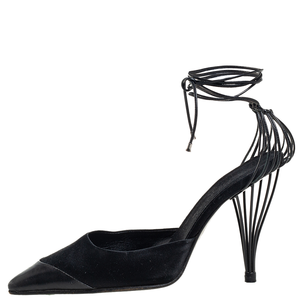 Pre-owned Chanel Black Satin And Leather Cap Toe Ankle Strap Pumps Size 38.5