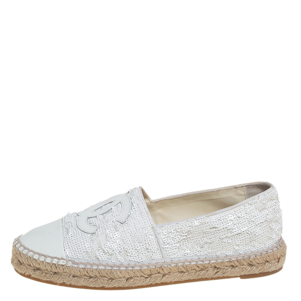 Chanel White Sequins and Patent Leather CC Espadrilles Size 38