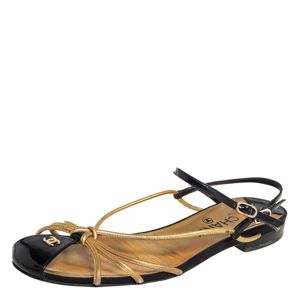 Pre-owned Chanel Gold/black Patent And Leather Strappy Flat Sandals Size 39