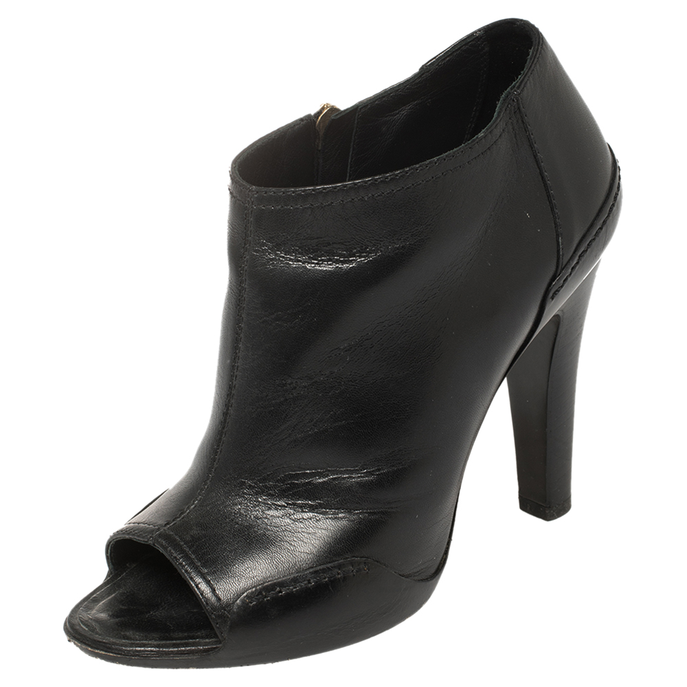 Pre-owned Chanel Black Leather Open Toe Cc Heel Ankle Booties Size 36
