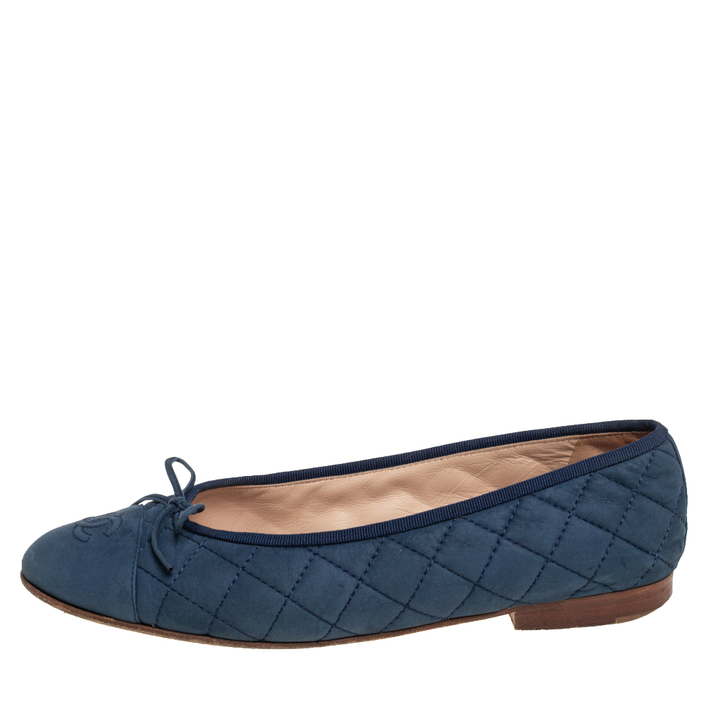 Chanel Blue Quilted Leather Ballet Flats Size 39