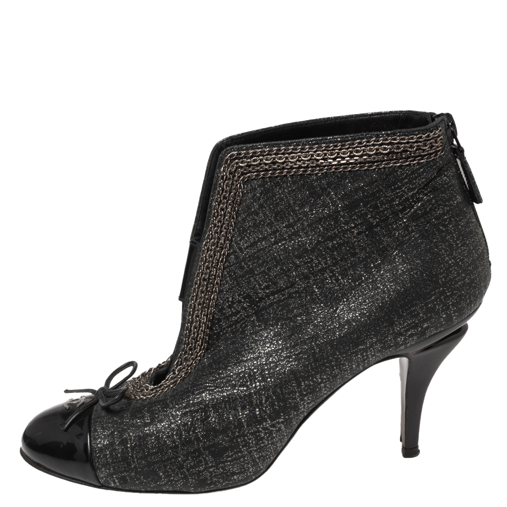 Chanel Black Shimmery Suede And Patent Leather CC Cap Toe Ankle Boots Size 38