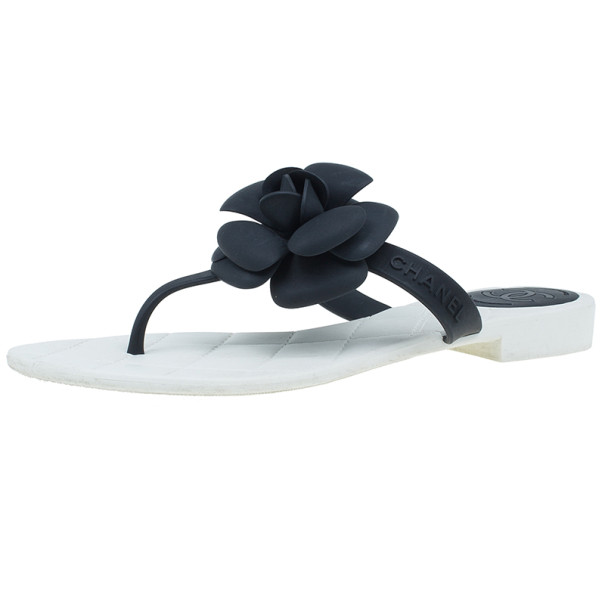 76fae174f7c4 Buy Chanel Black Camellia Thong Sandals Size 37 5587 at best price
