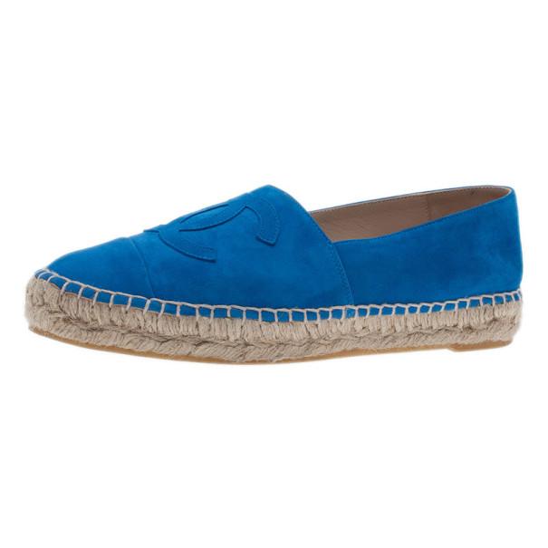 Chanel Blue Suede CC Espadrilles Size