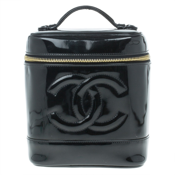 805d21665a05 Buy Chanel Black Patent Leather Vanity Bag 13248 at best price
