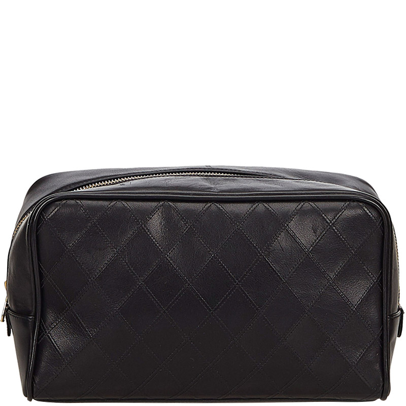 c91d756ab72a03 Buy Chanel Black Quilted Leather Cosmetic Pouch 158565 at best price ...