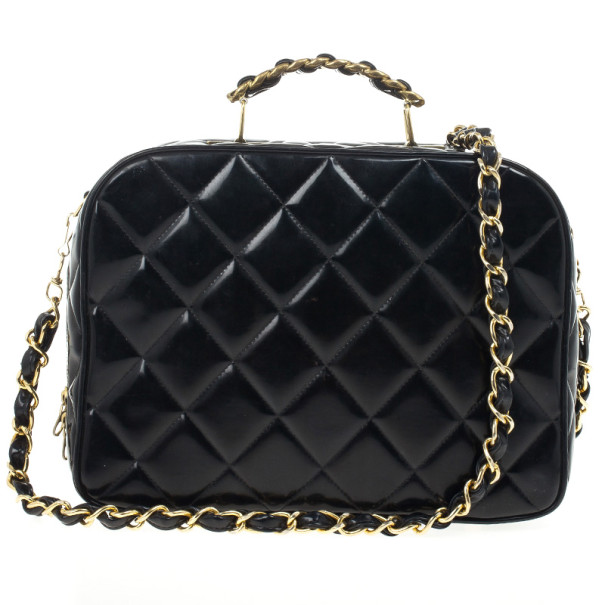 4c19e40c3c76 Buy Chanel Vintage Black Patent 2way Lunch Box Crossbody Bag 21505 at best  price