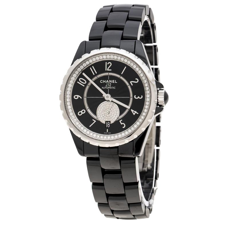 0e76e8f55ba ... Chanel Black Ceramic and Stainless Steel Diamonds J12-365 H3840 Women s  Wristwatch 36 mm. nextprev. prevnext