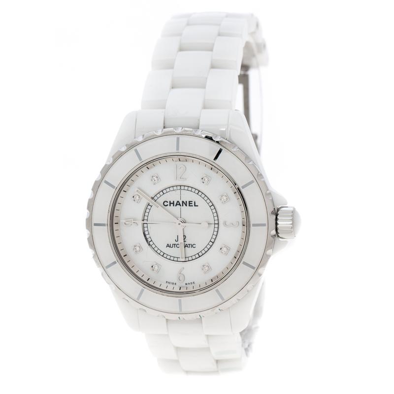 1810a66b86a ... Chanel White Mother of Pearl Ceramic Diamond J12 Unisex Wristwatch 38  mm. nextprev. prevnext