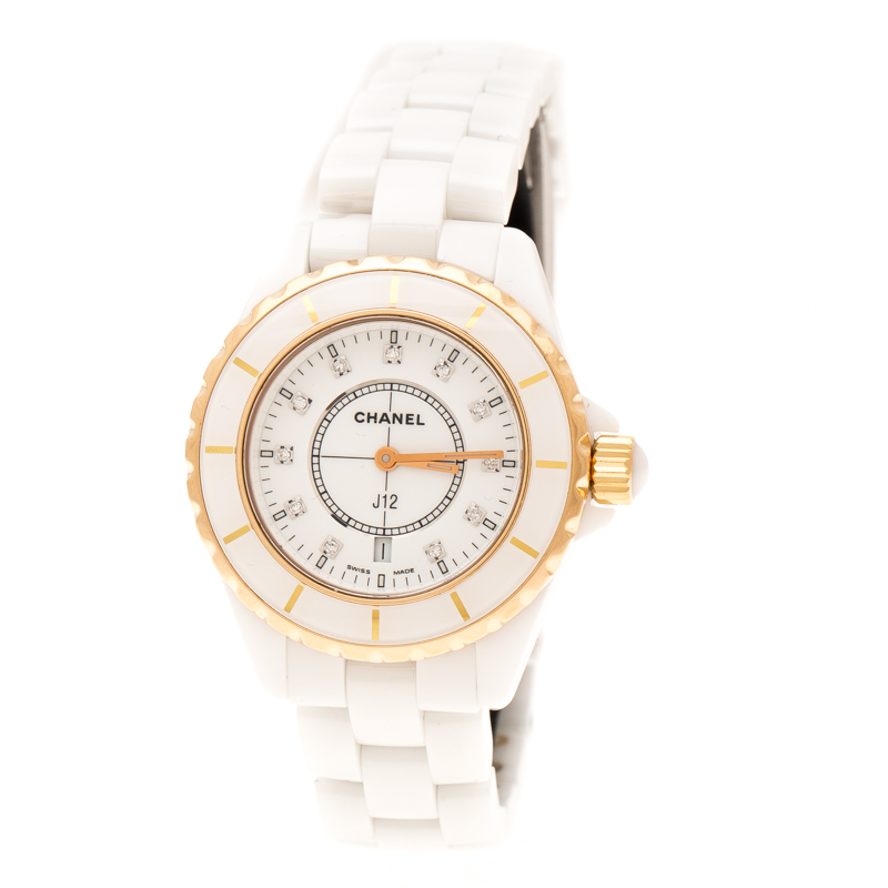 Chanel White Ceramic Gold Plated Steel Diamonds J12 H2181 Women's Wristwatch 33 mm