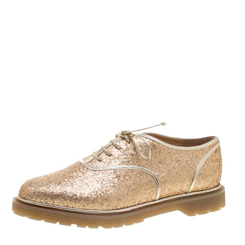 Charlotte Olympia Metallic Dull Gold Glitter Stefania Oxfords Size 37.5