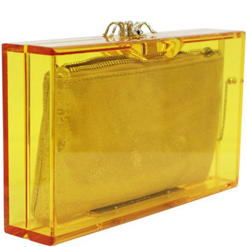 Charlotte Olympia Gelb Klar Plexiglas Pandora Classic Box Clutch