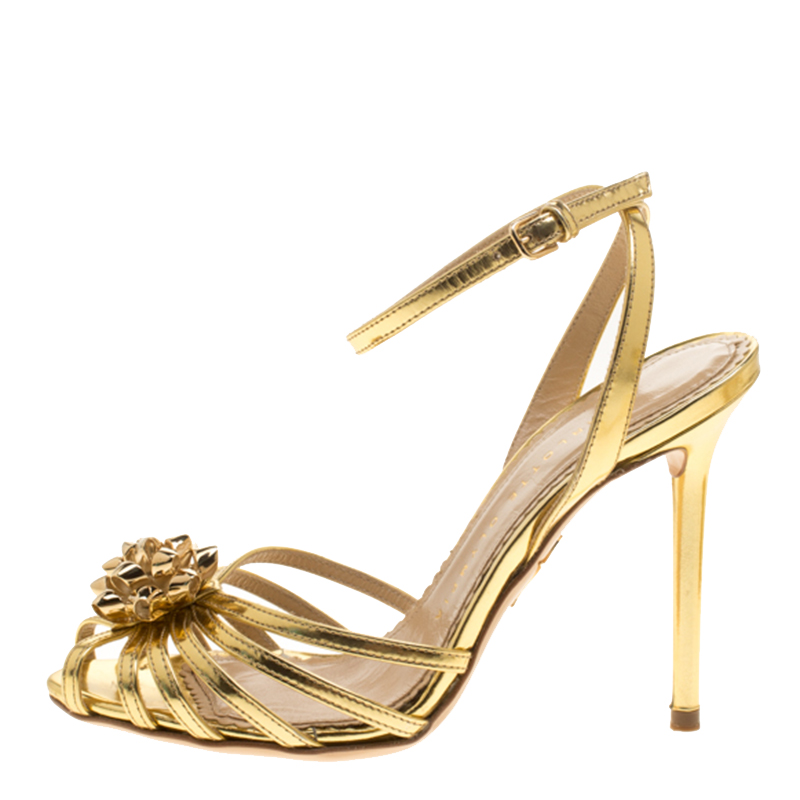 Фото #1: Charlotte Olympia Metallic Gold Leather Surprise! Ankle Strap Sandals Size 35.5