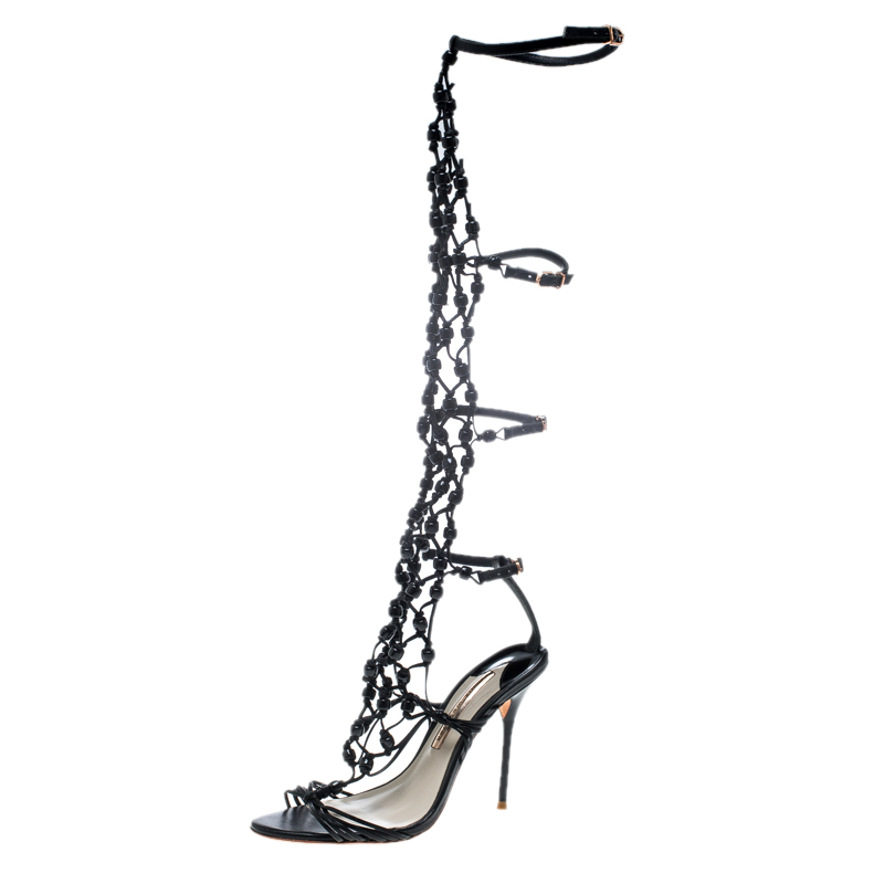 Sophia Webster Black Leather Arielle Beaded Woven Gladiator Sandals Size 38