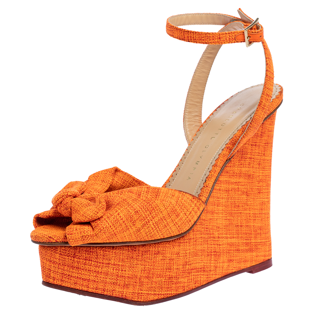CHARLOTTE OLYMPIA NEON ORANGE CANVAS BOW ANKLE WRAP WEDGE SANDALS SIZE 37.5