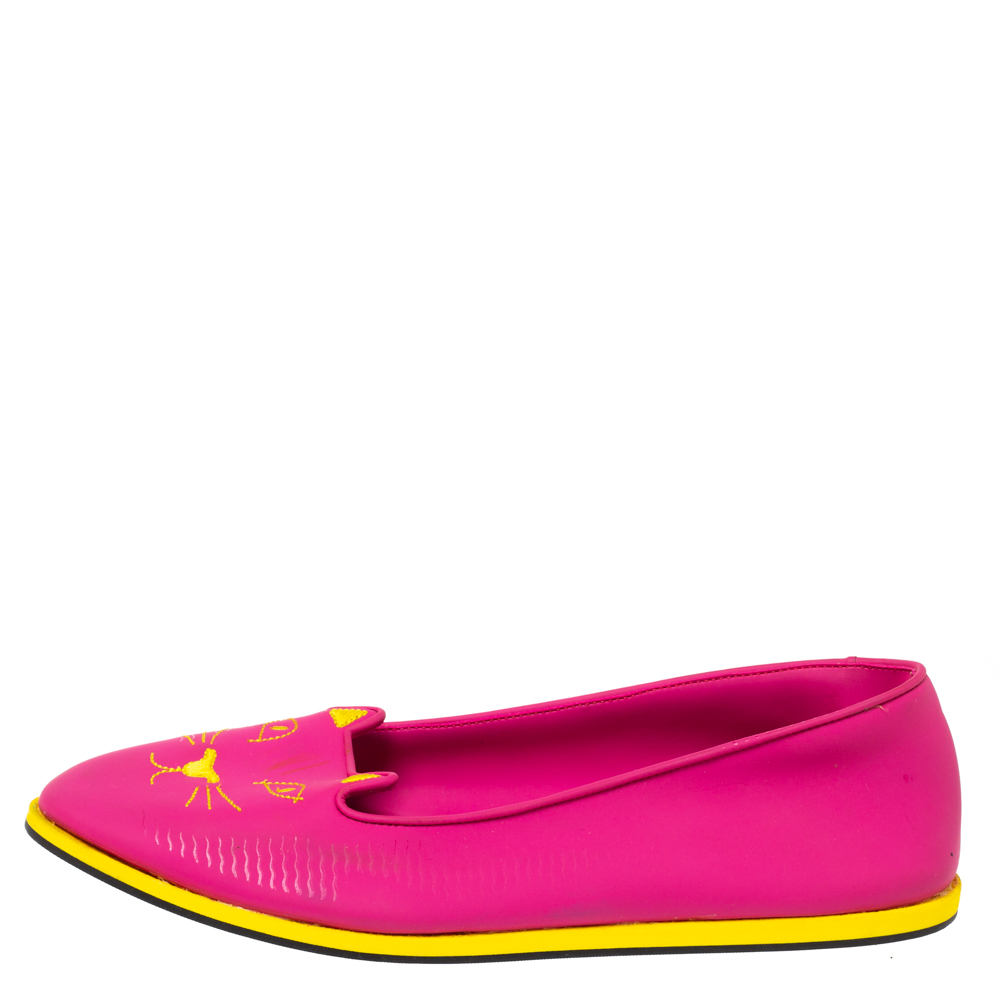 Charlotte Olympia Pink Rubber Kitty Flats Size 41