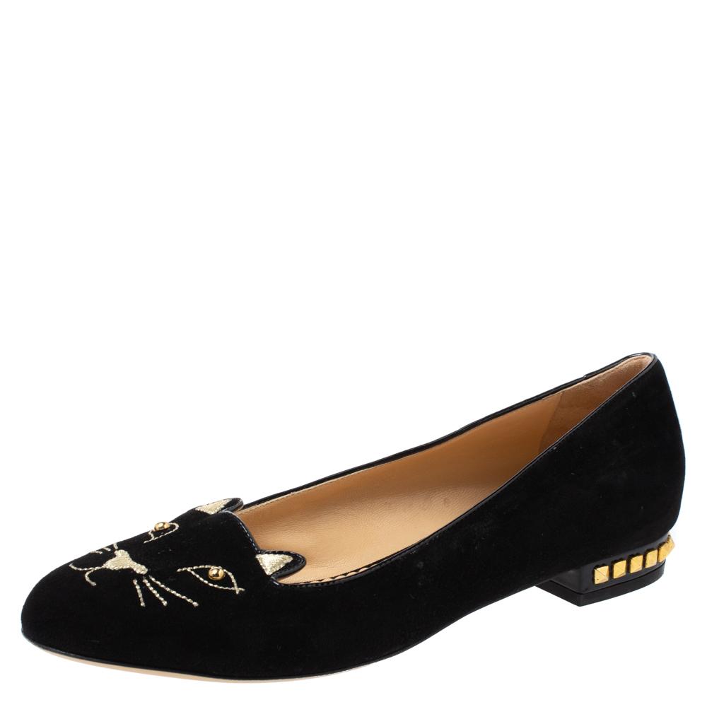 Pre-owned Charlotte Olympia Black Velvet Kitty Studded Ballet Flats Size 39.5