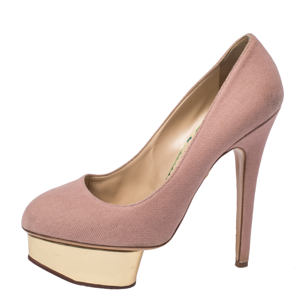 Charlotte Olympia Pink Canvas Dolly Platform Pumps Size 38  - buy with discount