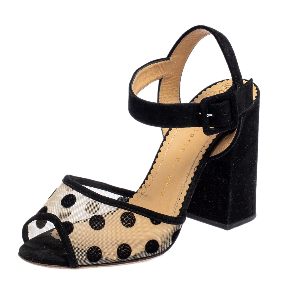 Pre-owned Charlotte Olympia Black Mesh And Suede Polka Dot Emma Sandals Size 39