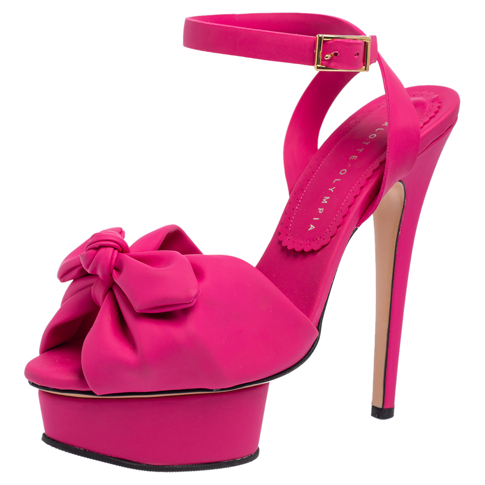 Pre-owned Charlotte Olympia Pink Rubber Serena Bow Ankle Strap Platform Sandals Size 37.5