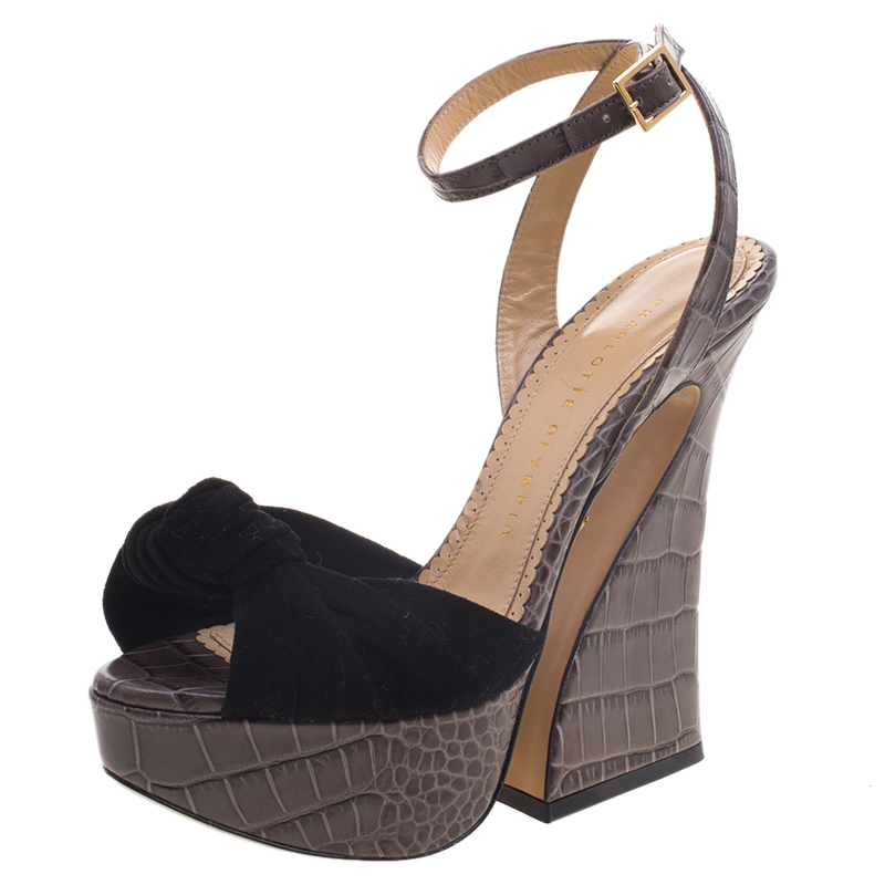 Charlotte Olympia Grey Croc Embossed Leather And Suede Vreeland Ankle Strap Platform Sandals Size 36